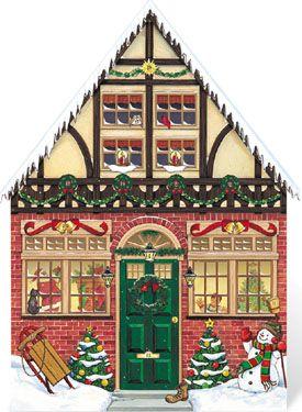 Christmas House Wooden Advent Calendar   Wooden Advent Calendars   Vermont Christmas Co. VT Holiday Gift Shop
