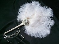 Pale Ivory Ostrich Feather & Pearl Narrow Vintage Bridal Wedding Hand Fan