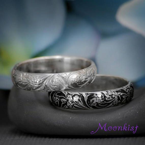 Spring Wildflower Wedding Band Sterling Silver Mens Wedding Band Flower Pattern Ring Wide Unisex Band Ring Floral Wedding Band