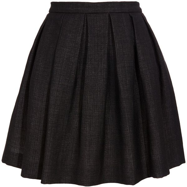 A black woven fabric skirt by Dries Van Noten. Skater skirt with full heavy pleats at the front and back. Two exposed silver metal hook and eye fastenings lead…