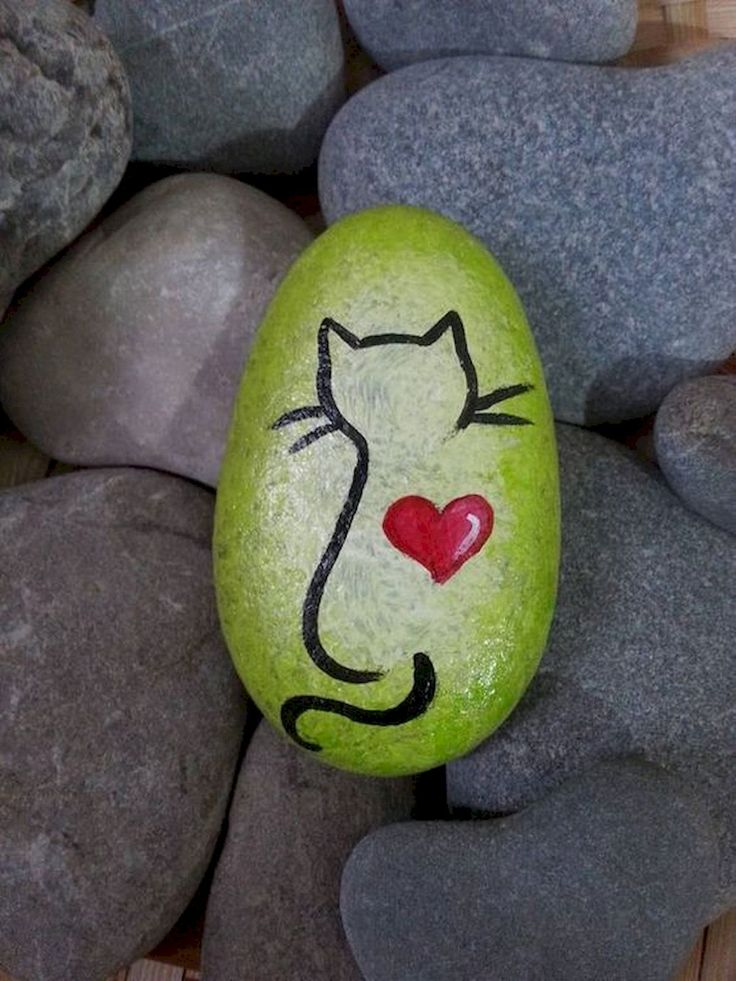 50 Inspiring DIY Painted Rocks Animals Cats for Summer Ideas