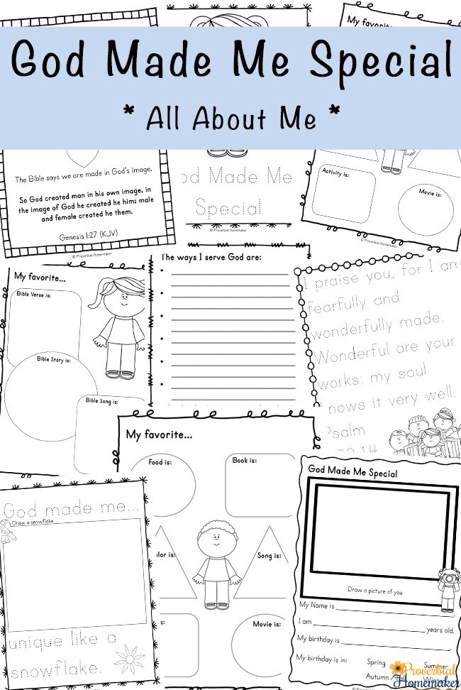 God Made Me Special Printable Pack Homeschool Bible Bible