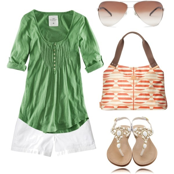 Summer Green and Orange, created by styleofe.polyvore.com: Green Tops, Orange Summer, Clothes Style, Summertime Styles, Summer Green, Green And Orange, Cute Summer Outfits