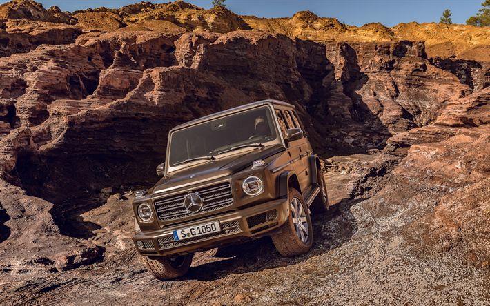 Download wallpapers 4k, Mercedes-Benz G-Class, offroad, 2019 cars, cliffs, Gelendvagen, Mercedes