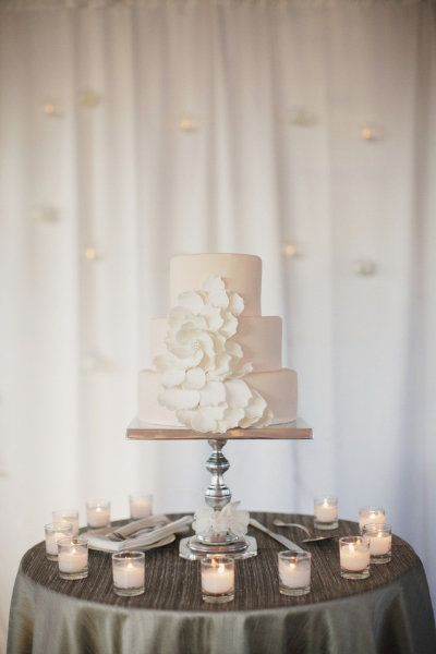 all white floral cake by http://tuckersicecream.com, Photography by stephaniewilliamsphotography.com  Read more - http://www.stylemepretty.com/2013/08/09/sonoma-wedding-from-nancy-liu-chin-designs/
