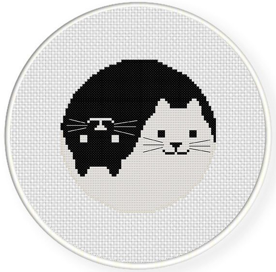 Yin Yang Cat PDF Cross Stitch Pattern di DailyCrossStitch su Etsy