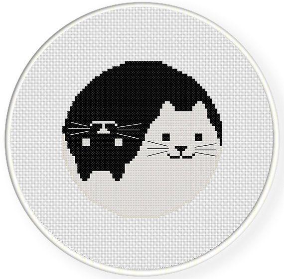 Yin Yang Cat PDF Cross Stitch Pattern Needlecraft - Instant Download - Modern Chart