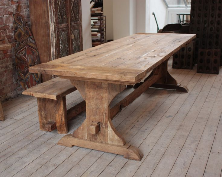 Distressed Oak Outdoor Dining Table