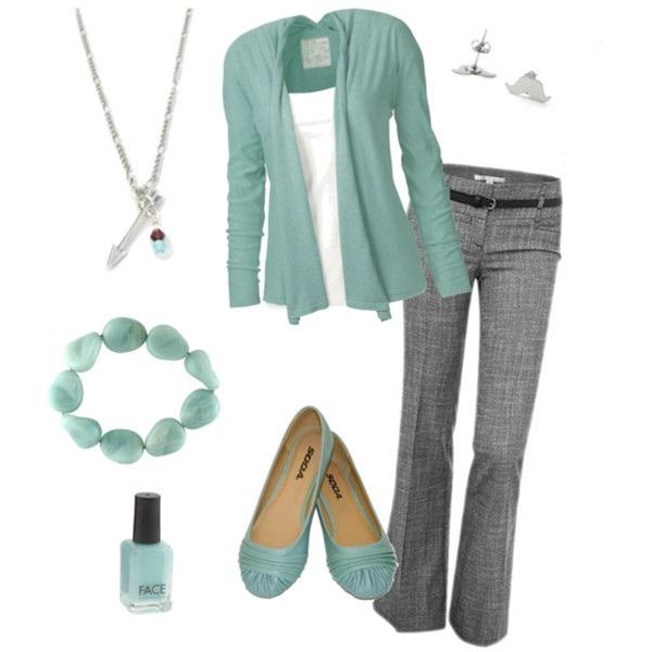 It's a lot of seafoam in one outfit... But Cute for Work!