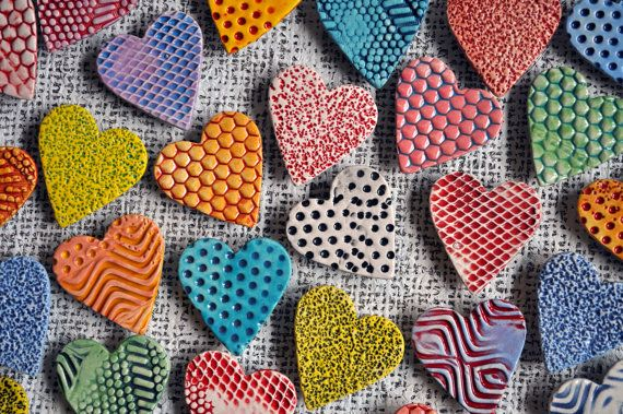 Colorful Hearts- Ceramic Heart Magnets- Valentine Magnets on Etsy, $25.00