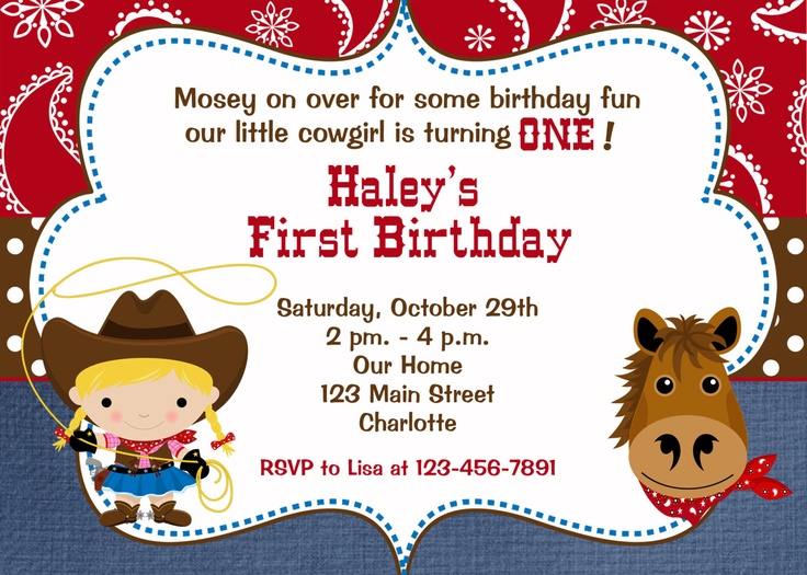 Cowgirl birthday party invitation  -  cowgirl party -  horses -- You print or I print. $10.00, via Etsy.