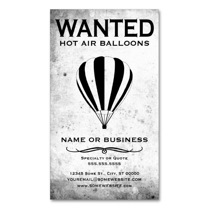 The 1456 best pilot business cards images on pinterest business wanted hot air balloons business card reheart Gallery