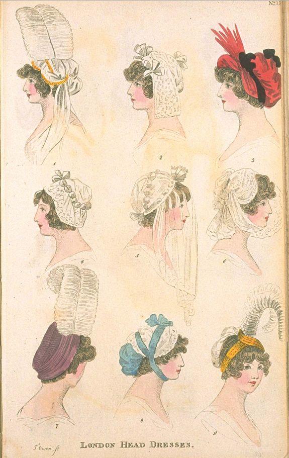 London Head Dresses, January 1801, Fashions of London & Paris