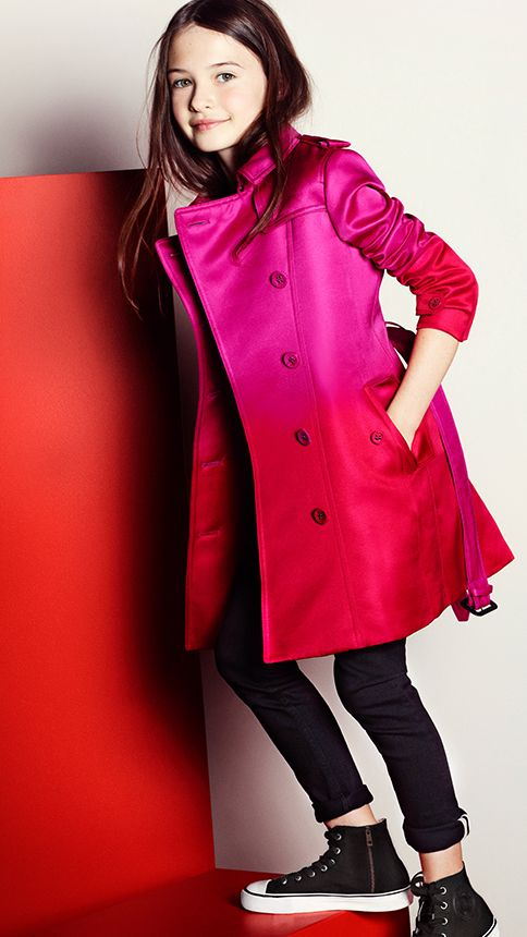 A vibrant satin dégradé trench coat from the Burberry Spring/Summer 2013 childrenswear collection #girlsfashion #kidsfashion