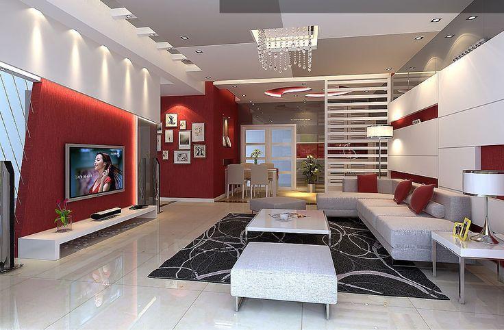 Salon rouge et blanc, design et moderne