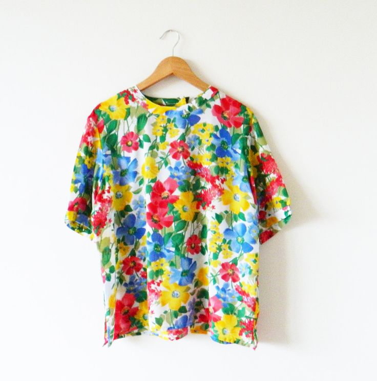 Rainbow Floral Vintage Blouse / Vintage Oversized Floral Top / Bright Floral Slouchy Blouse by thehappyforest on Etsy