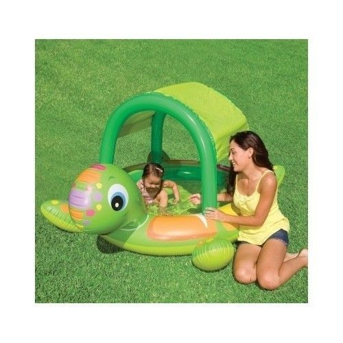 Inflatable Baby Pool Turtle Sunshade Toddler Swimming Wading Infant Kids Splash