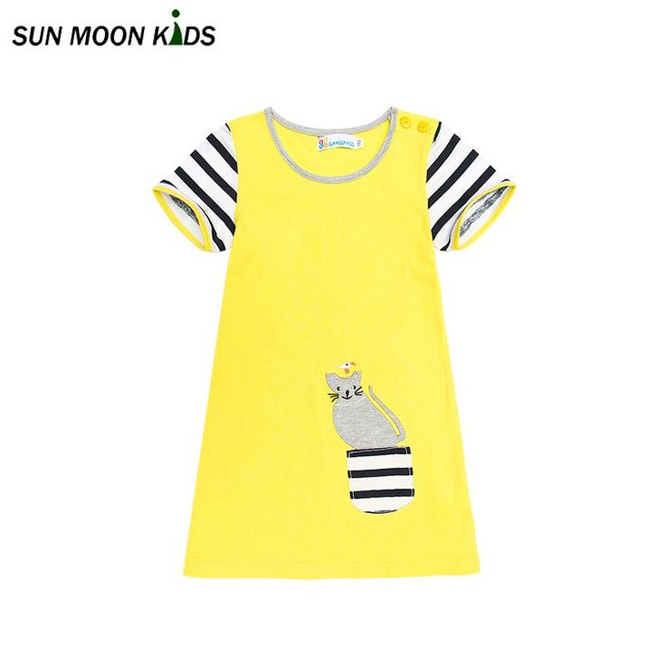 Sun Moon Kids kids Dresses Lovely Cat Princess Clothing Pockets Decoration Baby Clothes Animals Applique Party Costume #Affiliate