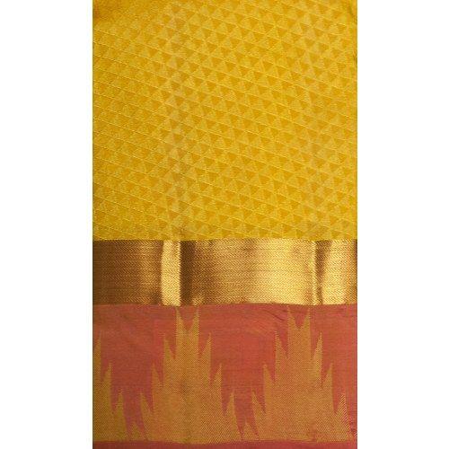 Mango Yellow Kanchipuram Pure Silk Saree