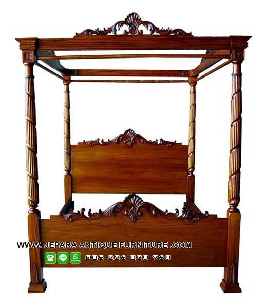Tempat tidur model kanopi kayu jati, dapatkan tempat tidur mewah hanya disini
