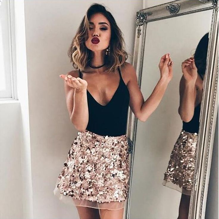 Luxury Vintage High Waisted Sequin Skirt