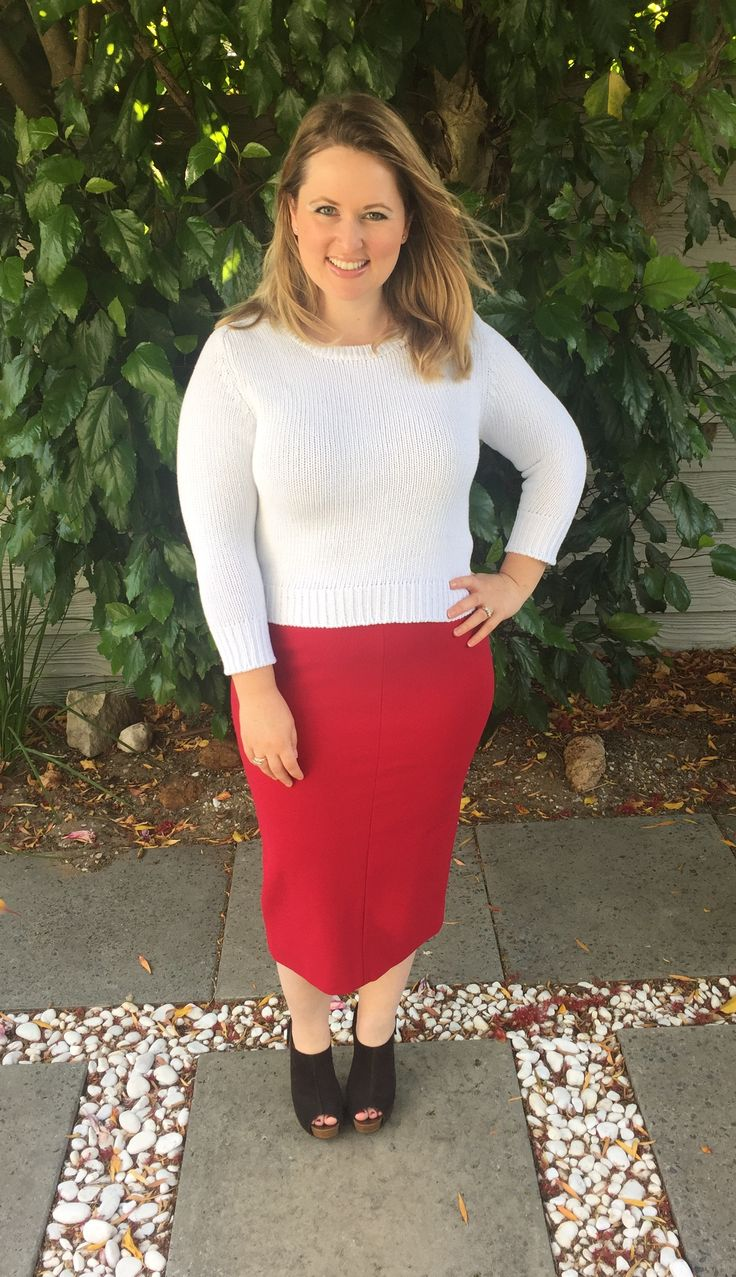 Red-y to conquer the world! Wearing a Snobby Sheep sweater, Diane von Furstenberg pencil skirt & Pedro Garcia booties on http://www.bargainsandbeautiful.com/cheery-red/ #dvf #snobbysheep #pedrogarcia