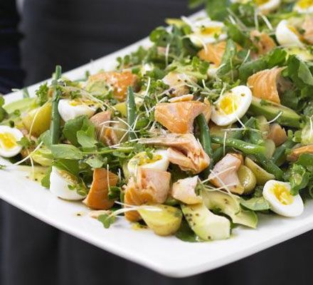 Hot-smoked salmon, double cress & potato salad platter. Get all the elements of this beautiful lunch dish prepared in advance, then just assemble when you're ready to serve.