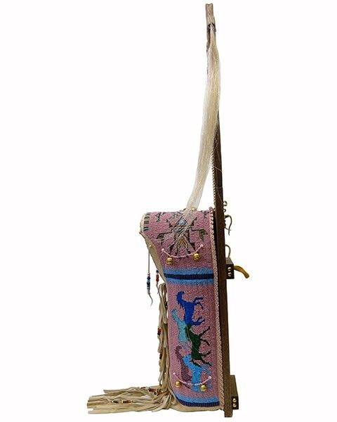 """Many Horses"" Pink Beaded #Cradleboard - Sideview by artist Kevin Fast Horse #Lakota #PraireEdge"
