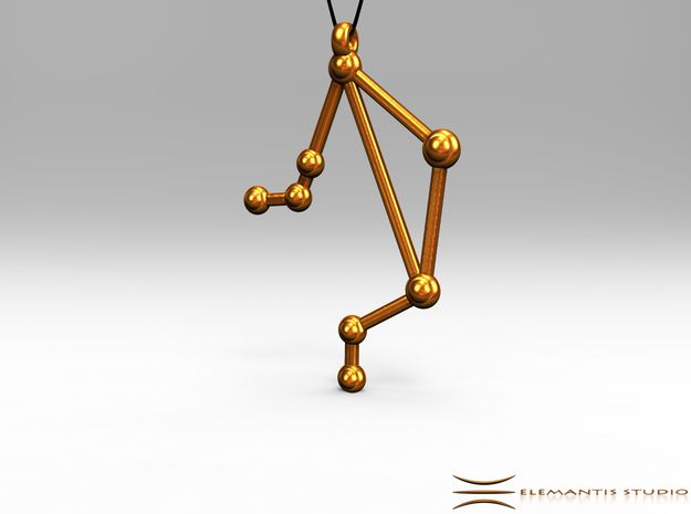Libra Zodiac Constellation Pendant in Polished Gold Steel