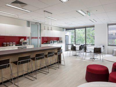 Defence Bank's modern, clean, elegant kitchen space.