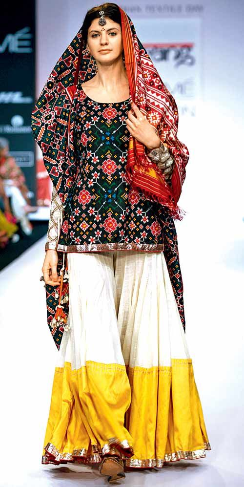 A Patan Patola ensemble from designer Gaurang Shah's collection blends subtle modernity with tradition. #Beauty #Fashion #Style
