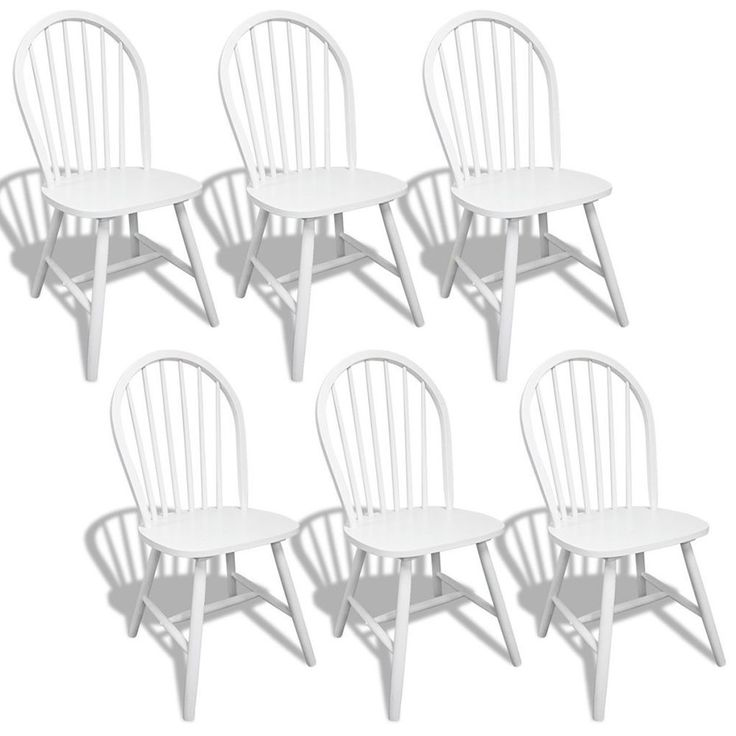 White Rustic Chairs 6 Pieces Wooden Country Kitchen Dining Room Seats Furniture