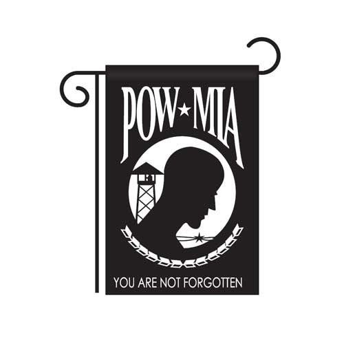 "POW/MIA Garden Flag by US Flag Store. $8.50. Low Cost Shipping Available. Dimensions: 13.5"" x 18"". Appliqued and Embroidered, Double-Sided, 100% Polyester. POW/MIA Garden Flag. This high quality appliqued and embroidered Garden Flag is double sided and made of 100% Polyester. It has a pole hem and includes free window hangers. Dimensions: 13.5"" x 18"""