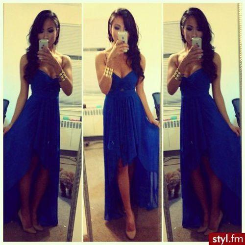 Blue hi-lo dress