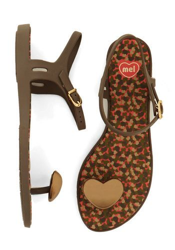 Got a Heart of Gold Sandal by Mel Shoes - Flat, Brown, Solid, Casual, Summer