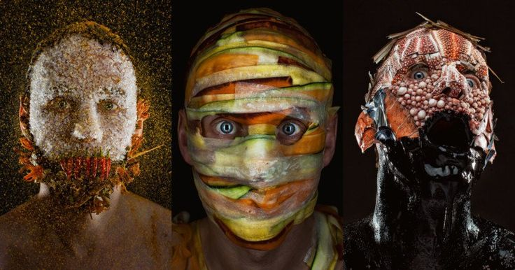 Creepy Portraits of a Chef Wearing His Menu Ingredients. MENU is a new photo series by photographer Robert Harrison and chef Robbie Postma, a duo who decided to combine food and portrait photography in a strange and creepy new way. The photos show Postma wearing his menu ingredients on his face.