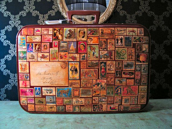 """Around the World in 80 Stamps - Vintage Luggage Suitcase from Etsy shop """"yasminbochi"""""""
