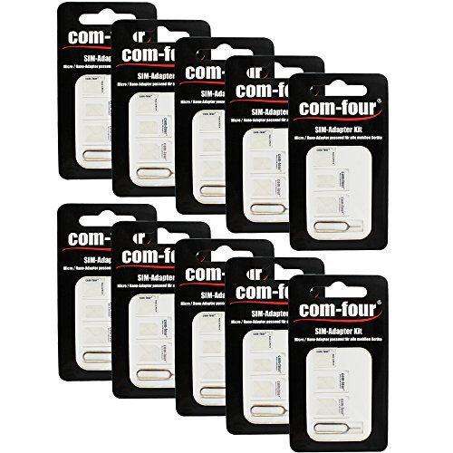 COM-FOUR� Nano SIM Karten Card Adapter Nano zu micro / nano + micro zu Standard SIM Karte f�r Smartphones + Eject Pin - 10er Pack