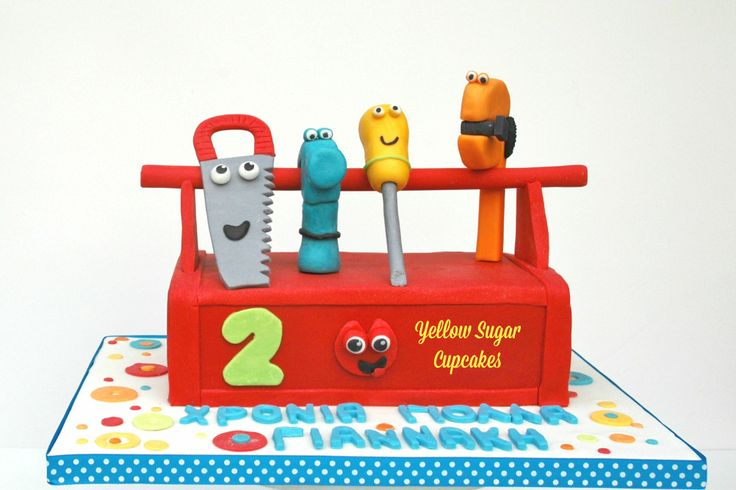 Handy Manny toolbox birthday cake