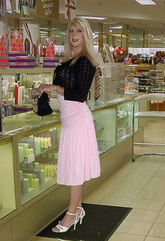 This is how I go shopping now since I have been living as a woman. My husband likes this. Even though I am a sissy Tgirl I am his wife.