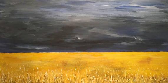 Original Acrylic Painting  Restless Prairie Sky