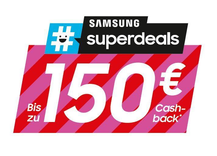 Samsung #superdeals Ausgewählte Samsung Waschmaschinen, Waschtrockner, Trockner, Premium Kühl/-Gefrierkombinationen oder Side-by-Side Kühlschränke kaufen und bis zu 150 EUR Cashback erhalten.