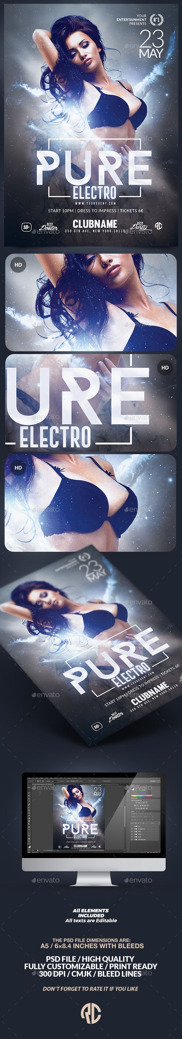 Pure Electro Flyer | Psd Template DOWNOAD Available on #envatomarket By @romecreation  #flyer #electro #house #flyers #template #psd #party #romecreation