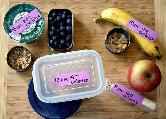 Popular Weight-Loss Motivation Tips: labeling premade food with time and cals