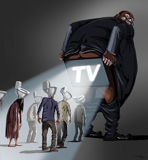 Иллюстратор не стесняется выражать свои мысли в работах. «Привлекательное ТВ» — история о том, как некто могущественный транслирует народу информацию из зада, в то время как головы людей-зомби скорее походят на туалетные бачки, нежели на сосредоточение ума.