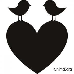 Эскиз влюбленных птичек на сердце  для декора наклейкой или трафаретом