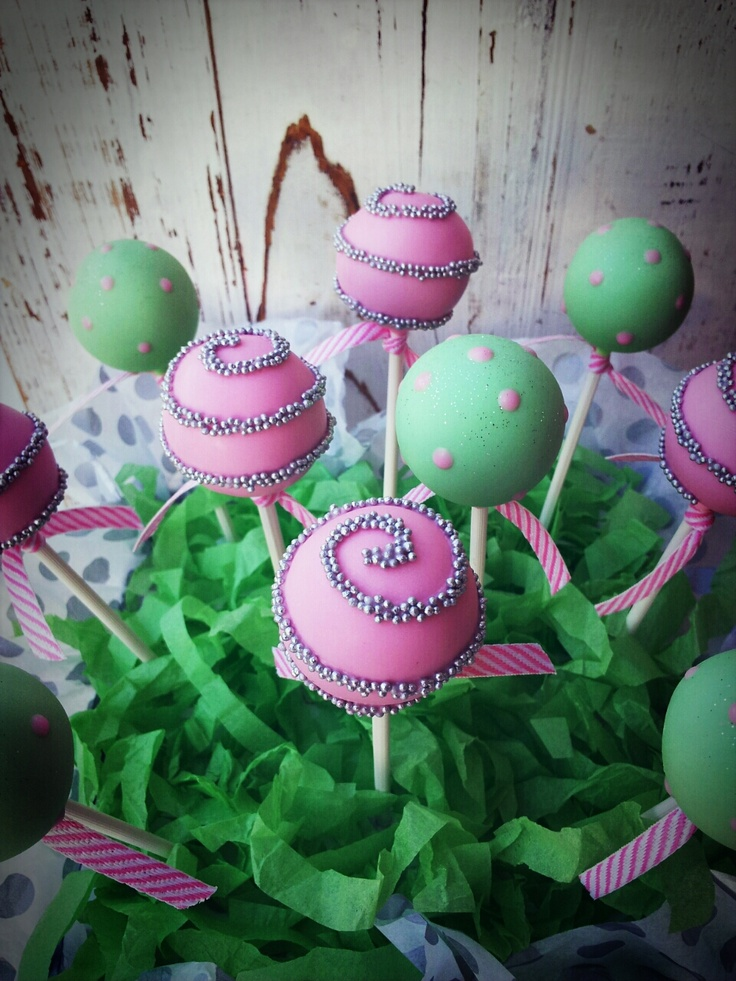 Pink and mint green cake pops