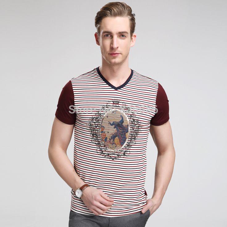 Дешевое 2015 последние стиль лето мода полосатый молодых мужчин хлопка майка, мода шаблон печать мужчины лето футболка, Купить Качество Футболки непосредственно из китайских фирмах-поставщиках: