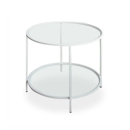 Terrace Side Table With A 6mm Clear Toughened Glass Top & Bottom Shelf