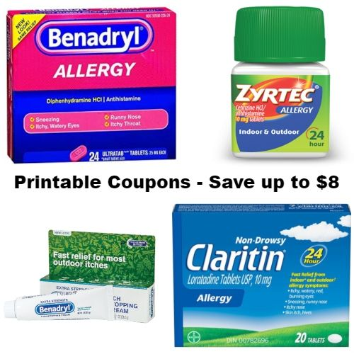 image about Zyrtec Printable Coupon $10 titled Printable Allergy Prescription drugs Discount coupons : Preserve up towards $8